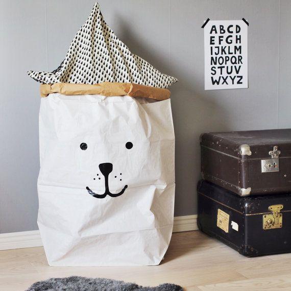 saco de juguetes bolsa almacenaje papel tellkiddo