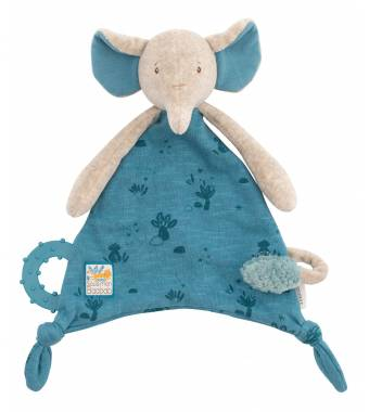 Elephant Comforter with pacifier holder Baobab Moulin Roty