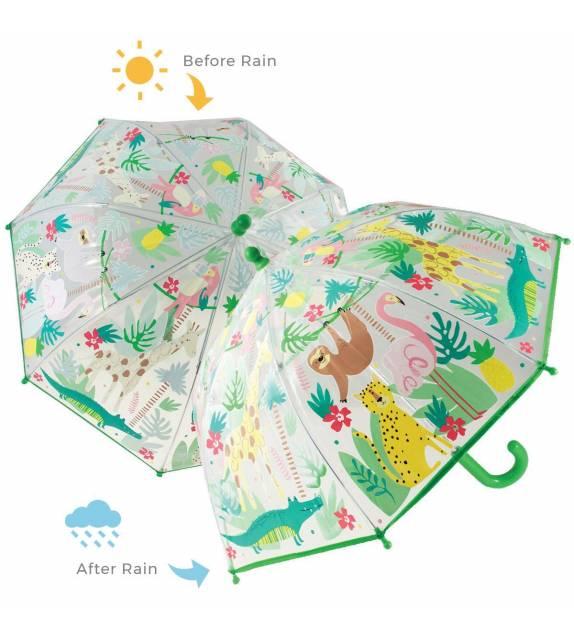 Colour Changing Kids Umbrella Jungle