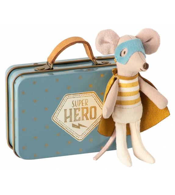 Superhero in suitcase Mouse Maileg