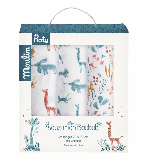 Set of 3 swaddles squares Baobab Moulin Roty
