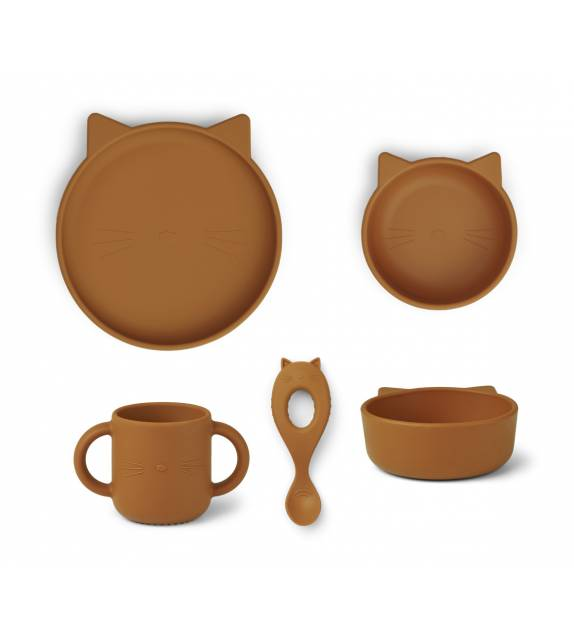 Silicone Tableware Set Cat Mustard Liewood