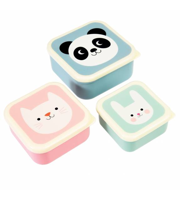 Panda Cat and Rabbit Snack Boxes