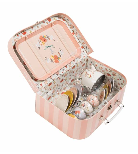 Les Parisiennes Tin tea set in suitcase Moulin Roty